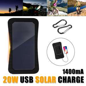 LEORY 7W 5V Sunpower Solar Panels Charger Bank Backpack Solar Cells with USB Port for Camping Hiking