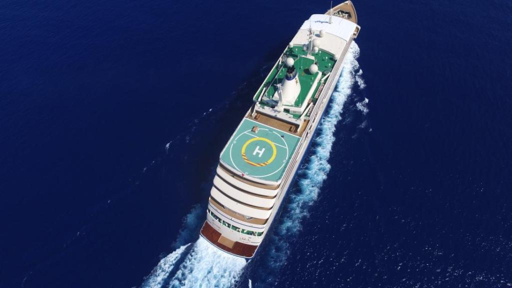 helicopter landing place on super yacht picture taken from air