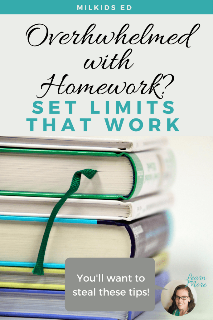Setting homework limits can help to control the overwhelm after school and lead to more peaceful evenings. | Meg Flanagan, MilKids Ed | Make the K-12 Journey Easier