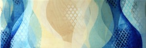 """Revolutionaries Wait"" by Meghan MacMillan, acrylic on birch, 12x36"", 2014-15."