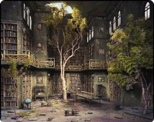 In this library, you'd be surrounded by books, and probably a ghost. Maybe even hollow men, too.