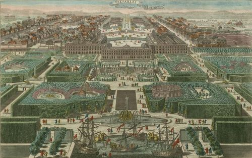 It's not a photograph, but this depiction of the view of Versailles as it would have looked in 1793 was still helpful to me.