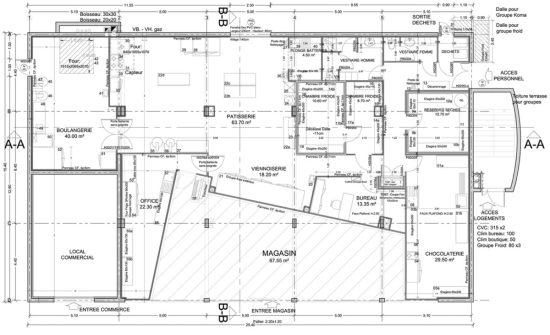 Plan général : laboratoire culinaire + Magasin