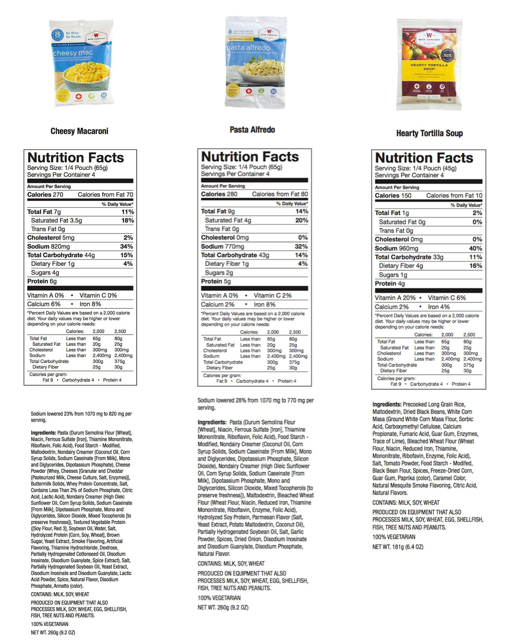 Wise Emergency Foods Nutritional Information 6
