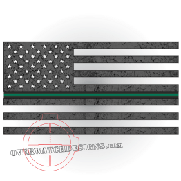 Thin Green Line Subdued Flag Sticker