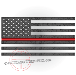 Thin Red Line Subdued Flag Sticker