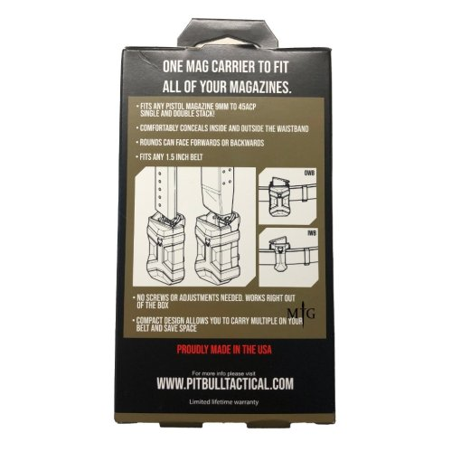 Pitbull Tactical FDE Single Pistol mag Pouch Packaging