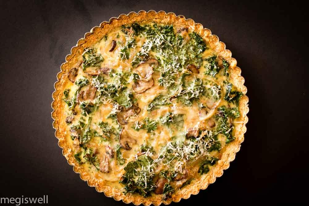 kale, onion, and mushroom quiche