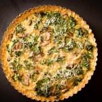 kale, onion, ad mushroom quiche