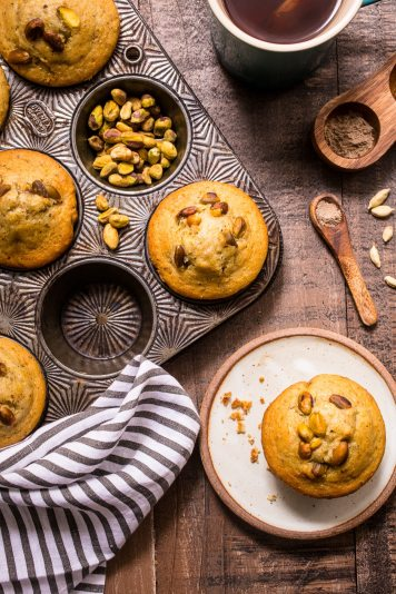 25 Recipes That Use Pistachios - Pistachio Cardamom Muffins from Girl in the Little Red Kitchen