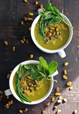 25 Recipes That Use Pistachios - Roasted Asparagus Soup with Pistachio Cream from Rhubarbarians