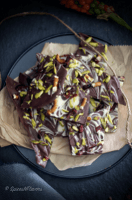 25 Recipes That Use Pistachios - DIY Homemade Pistachio and Pretzel Chocolate Barks from Spices n Flavors