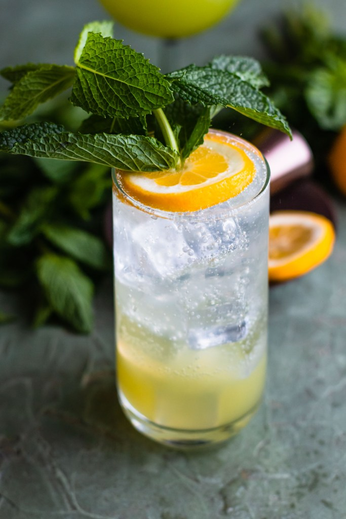 Close up side shot of a fizzy iced drink with a large mint sprig sticking out of the lemon on top.