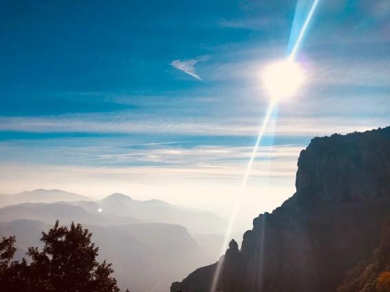 Sun lit Peaks at Montserrat