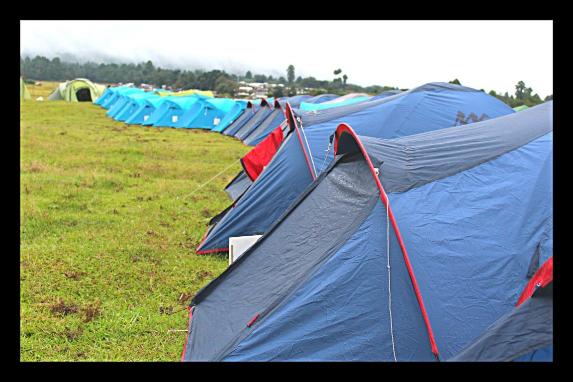 The tents in the camping site of Ziro Valley.