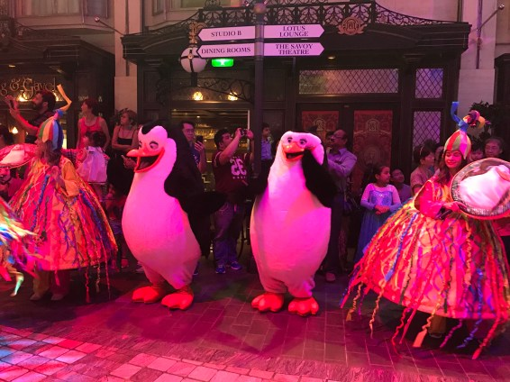 The colorful dressed up penguins lighting up our welcome party.