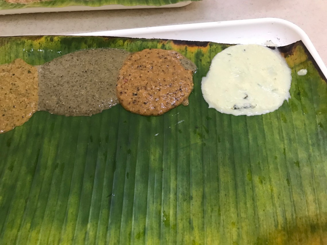 Chutney slection at Murugan idli.Chutney slection at Murugan idli.