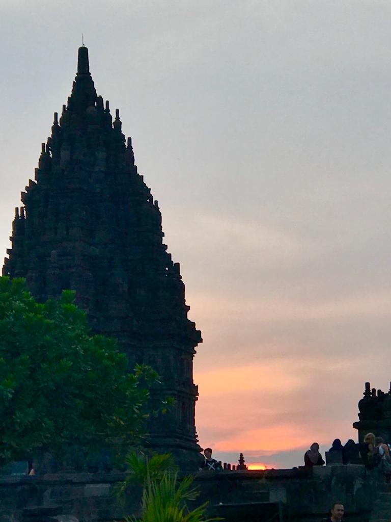 When the sun is about to set at Prambanan Temple.
