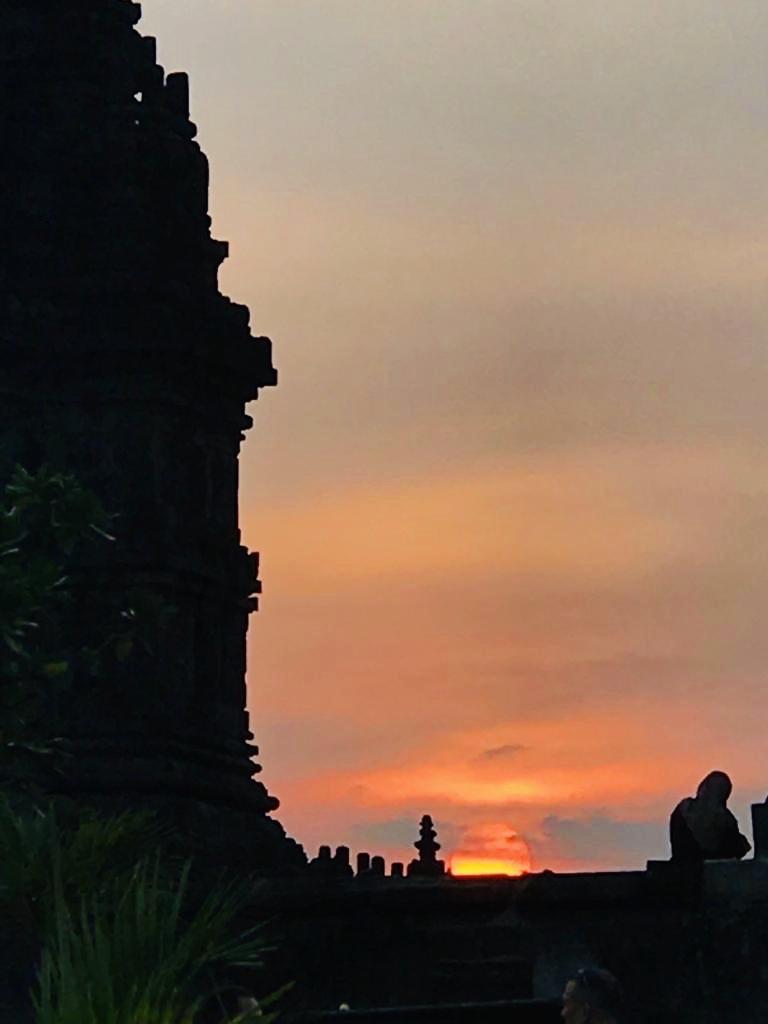 View of the sunset at Prambanan Temple.