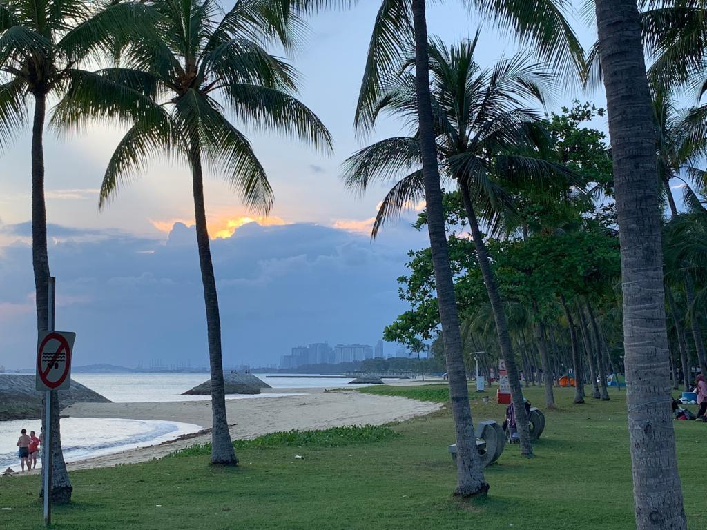 Sunset view at glamping Singpore.