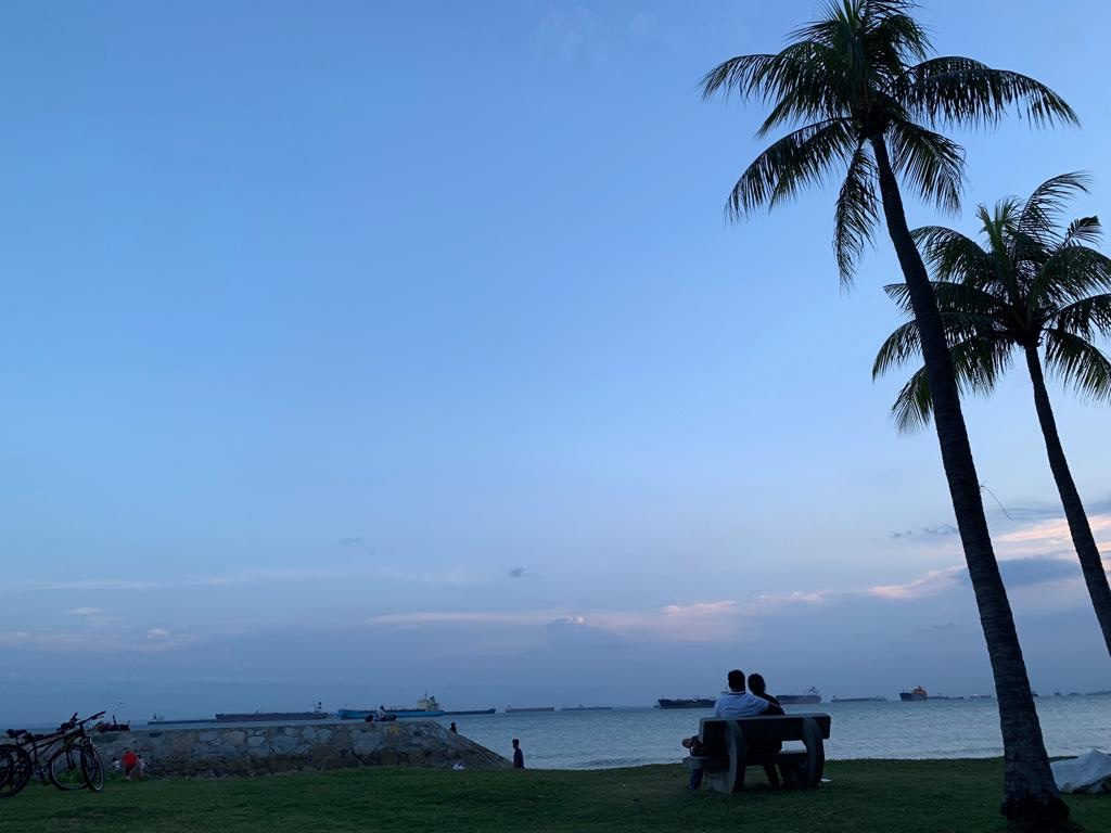 Wonderful sea breeze and view to enjoy glamping in Singapor.