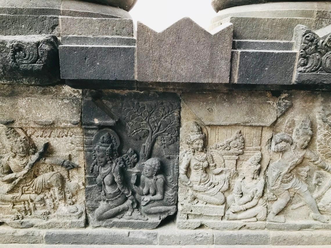The detailed cravings on the walls of Prambanan temple