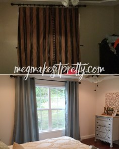 New curtains and a gorgeous vintage dresser add character