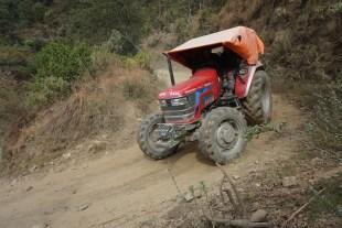 A road-building equipment traffic jam