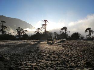 Evening mist covering the Kangchenjunga range