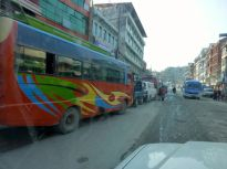Kilometers-long lines of buses and