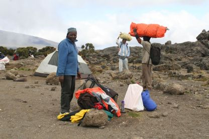 Dismantling camp at Shira 2 after Martha left.