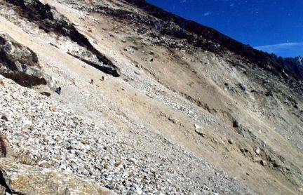 Trail after a rock slide, Kangchenjunga