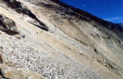 Trail after a rock slide, Kangchenjunga