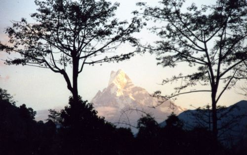A morning and evening shot of the magnificent fish-tail peak of Machhapuchhare