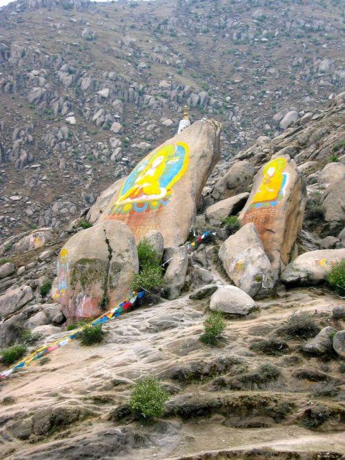 Decorated rocks near Drepung Monastery, Lhasa