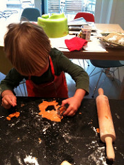 Ollie making his very own crab cookies