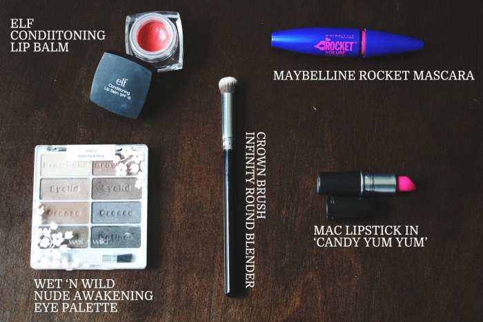 Beauty Favorites: ELF, Wet 'n Wild Nude in Private, Maybelline Rocket,  Crown Brush, Mac Candy Yum Yum