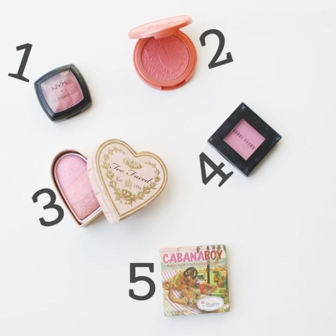 Favorite Summer Blushes - NYX Pinched, Tarte Tipsy, Too Faced Sweet Hearts, Bobbi Brown Peony, theBalm Cabana Boy