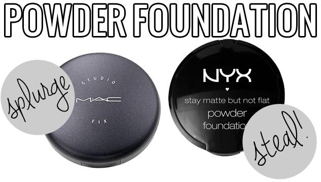 makeup dupes, Splurge / Steal Beauty Powder Foundation, MAC Studio Fix v.s NYX Stay Matte but Not Flat, MAC Studio Fix dupe