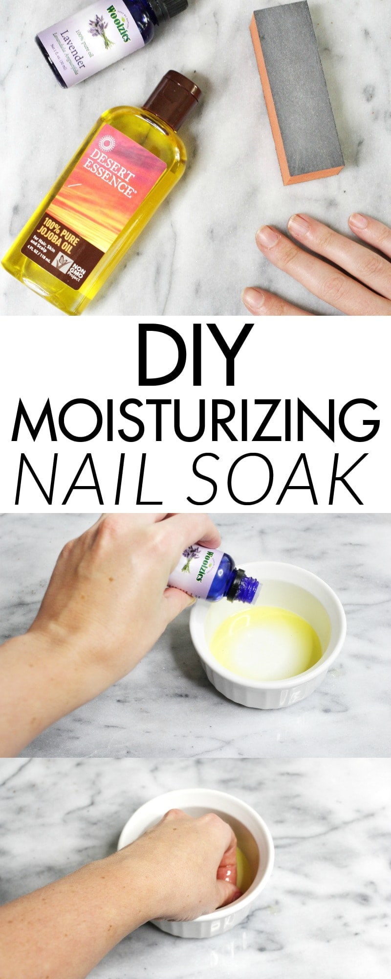 DIY Moisturizing Nail Soak - give your cuticles and broken nails some therapy. Super easy. My nails and cuticles already look better!