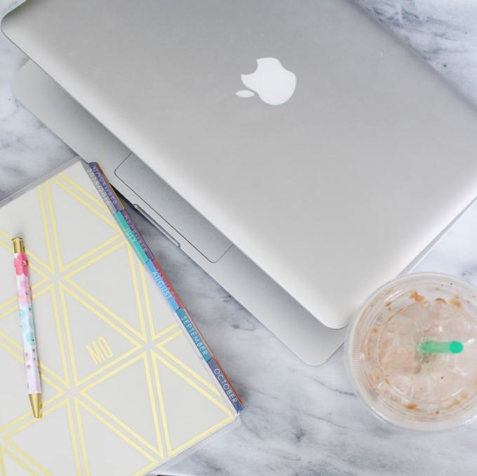 Macbook and Erin Condren Planner
