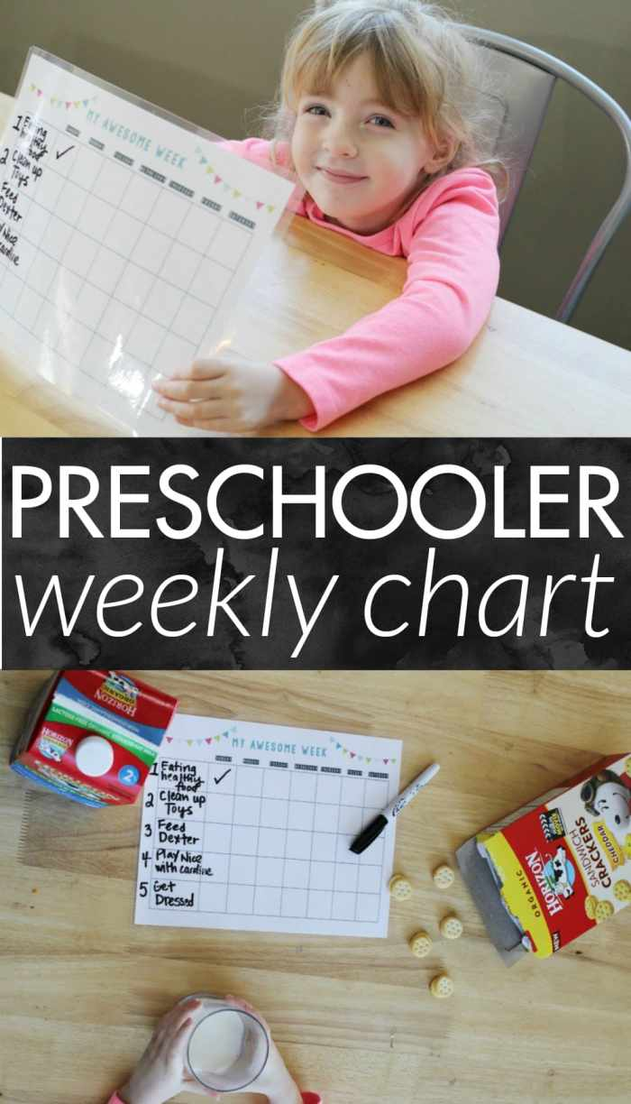 Chore charts not working? Goal setting with preschoolers is a great way to get them involved in the process. Goals can change weekly, depending on what the child is learning or needs to work on. This chart can be used to help them make healthy choices or to complete household responsibilities. FREE printable available for download! #HorizonSnacks