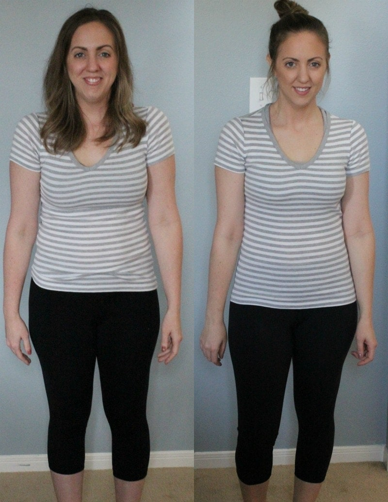Whole30 results before and after - 7 pounds and 2 inches off waist, hips, and thighs