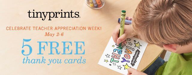 Tiny Prints 5 free thank you cards