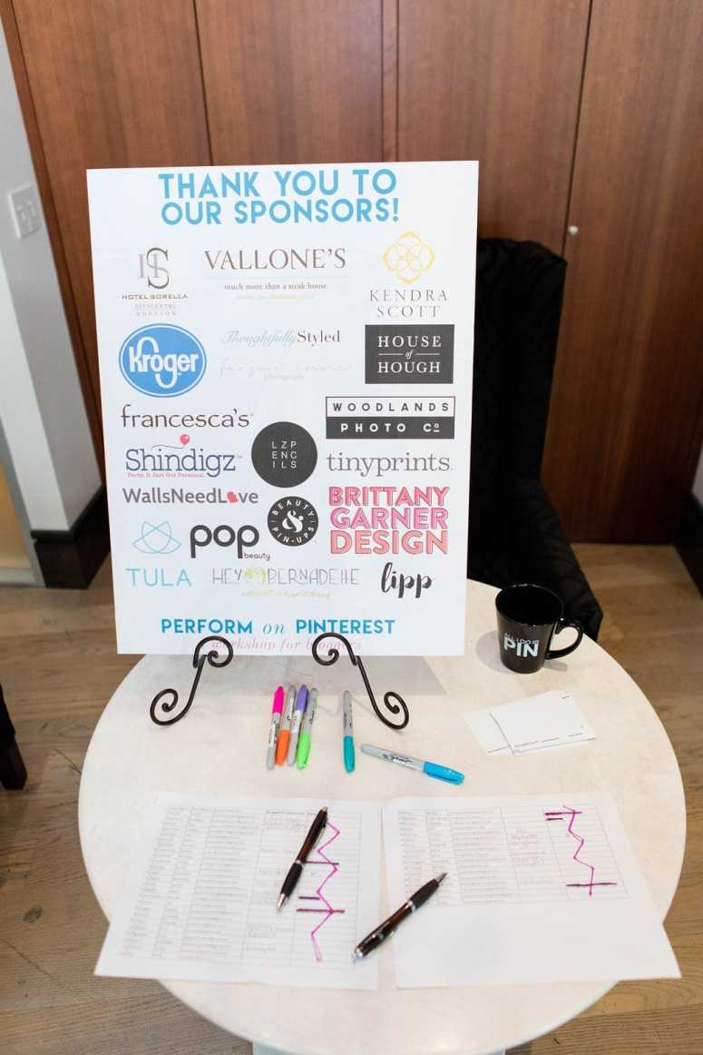 Perform on Pinterest workshop sponsors