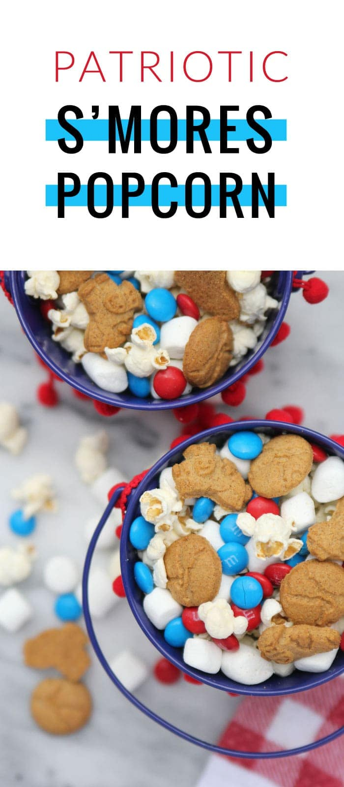 This patriotic smores popcon is sure to please the crowd for the 4th of July, Memorial Day, or any other patriotic holiday!