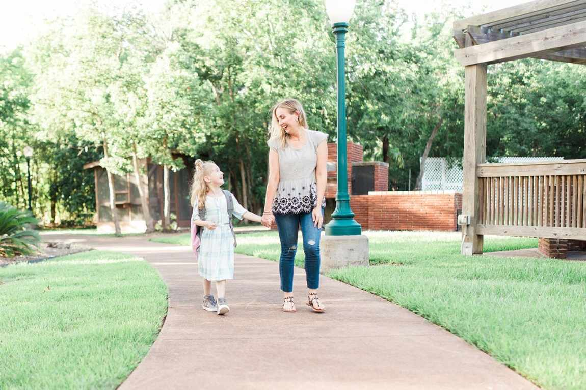 Mommy daughter first day of kindergarten outfit ideas shown by Houston lifestyle blogger, Meg O. on the Go