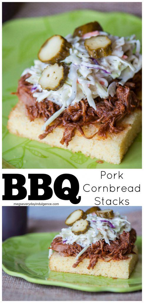 BBQ Pork Cornbread Stacks