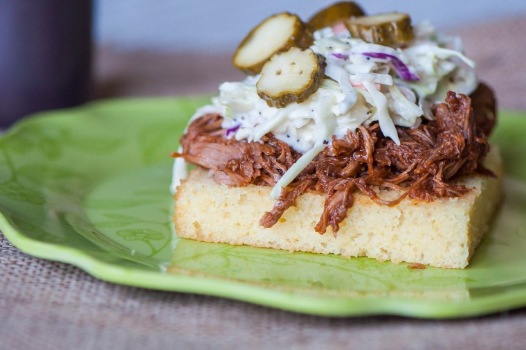 BBQ Pork Cornbread Stacks