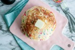 Funfetti Pancakes are a fun way to celebrate something special or to boost that Monday mood. Packed full of sprinkles and cake batter flavor, they are sure to make everyone happy.